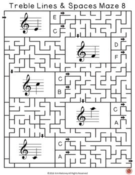 Treble Lines and Spaces Music Maze Puzzles