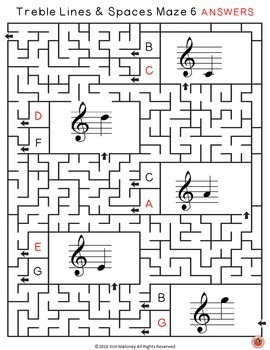 Music Games: Treble Lines and Spaces Music Maze Puzzles