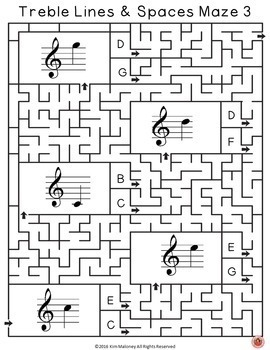 Music Activities: Treble Lines and Spaces Music Maze Puzzles