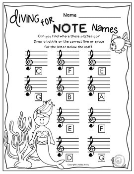 Treble Note Names Worksheet Pack