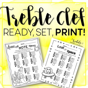 Music Worksheets - Treble Clef Note Names