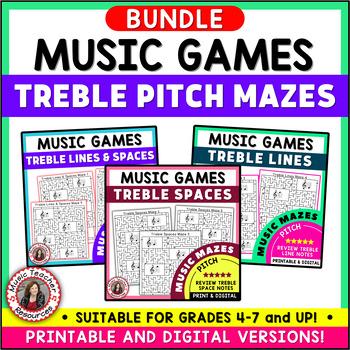 Treble Pitch Music Maze Puzzles Bundle