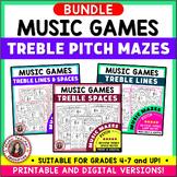 Music Games: Treble Pitch Music Maze Puzzles Bundle