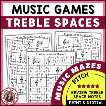 Treble Pitch Maze Puzzles for Treble Note Spaces