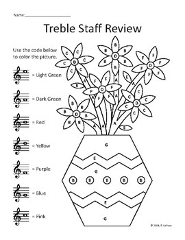 Treble Staff Color by Note Spring Flower Vase