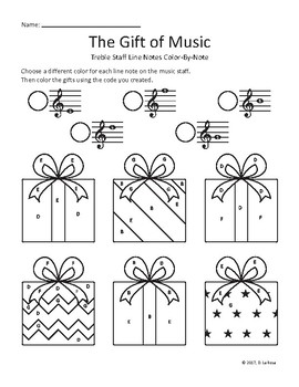 Treble Staff Line Note EGBDF Color-by-Note Gift