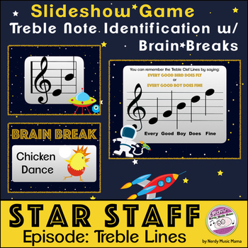 Treble Staff Line Notes Game Space Themed
