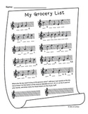 Treble Staff Note Identification Fill-in-the-blank Workshe