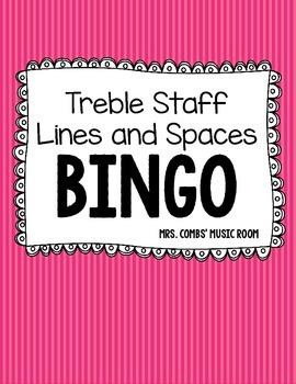 Treble Staff Notes BINGO- Lines and Spaces