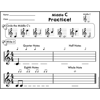 Treble Staff Notes Practice For Piano And Xylophone By Nerdy Music Mama