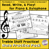 Treble Staff Notes Practice for Piano and Xylophone