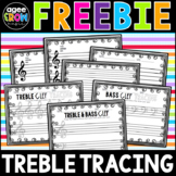 Treble Tracing Blank Sheet Music!  Practice Treble & Bass Clefs + Composition