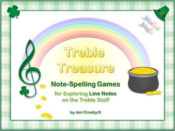 Treble Treasure - 28 Note-Spelling Words for Treble Lines - St. Patrick's Theme