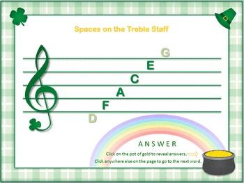 Treble Treasure - 33 Note-Spelling Words for Treble Spaces - St. Patrick's Theme