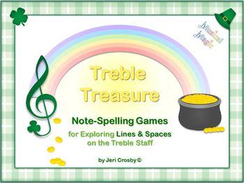 Treble Treasure - 83 Note-Spelling Slides for Treble Clef - St. Patrick's Theme