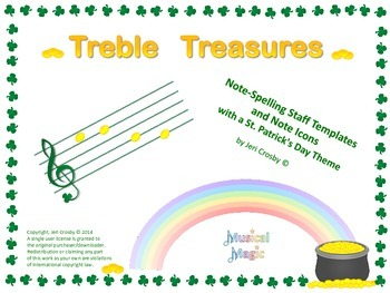 Treble Treasures - St. Patrick's Theme Note-Spelling Staves and Note Icons
