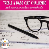 Treble and Bass Clef Challenge - Note Name Worksheets