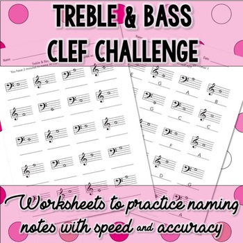 Treble And Bass Clef Challenge Note Name Worksheets By The