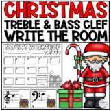 Treble and Bass Clef Christmas Write the Room Activity