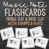 Music Note Flashcards with Sharps and Flats
