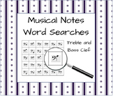 Treble and Bass Clef Musical Note Word Searches