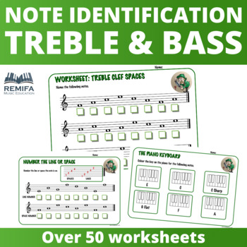 Treble and Bass Clef note identification worksheets.