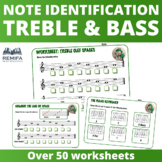 Over 50 Treble and Bass Clef note identification worksheets.