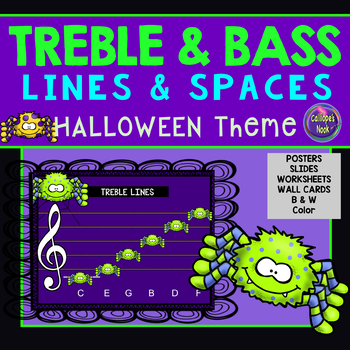 Line and Space Notes for Halloween: Treble and Bass Clefs