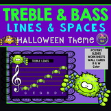 Halloween Line and Space Note Names: Treble and Bass Clefs