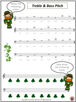 St Patrick's Day Music Activity: Treble and Bass Pitch Worksheet