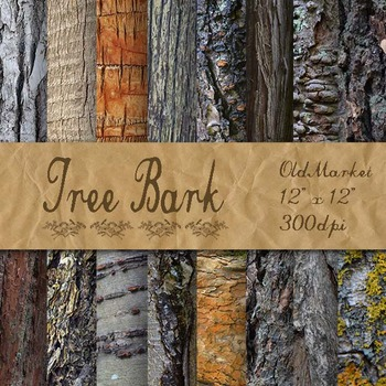 Tree Bark Backgrounds - Digital Paper Pack - 16 Different Papers - 12inx12in