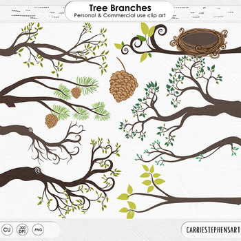 Tree Branch Clip Art, Woodland Forest ClipArt, Spring, Nature, Forest