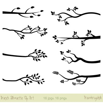 Tree Branch Silhouettes Clip Art, Black Twigs with Leaves, Bare Branches