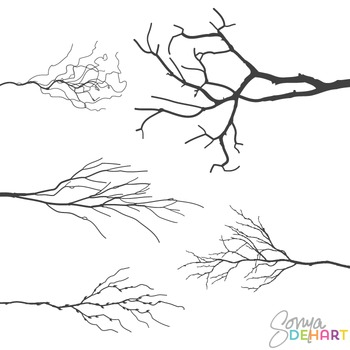 Tree Branch Silhouettes Clip Art Realistic Branches and Trees