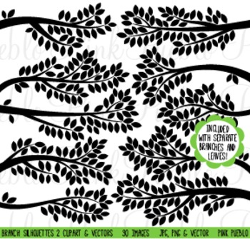 Tree Branch Silhouettes Clipart Clip Art - Commercial and