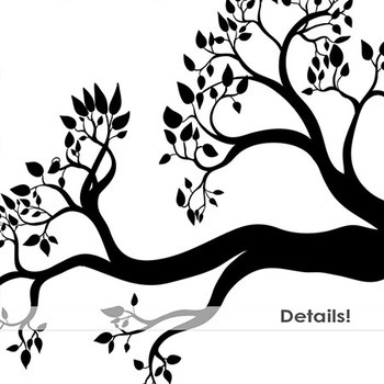 Tree Branch Silhouette ClipArt, Birds Nests, Nature Digital Graphics