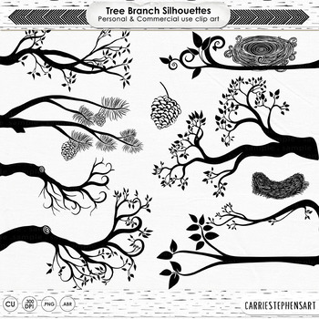Tree Branch Silhouette ClipArt, Birds Nests, Nature Digita