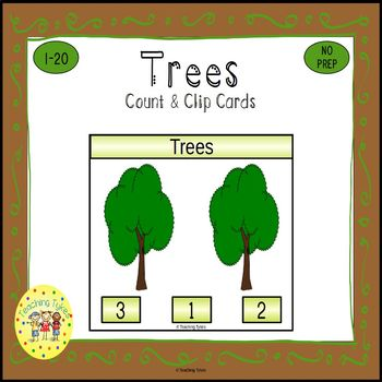 Trees Count and Clip Task Cards