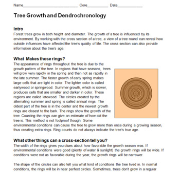Tree Growth and Dendrochronology -- Middle School Tree Rings Worksheets