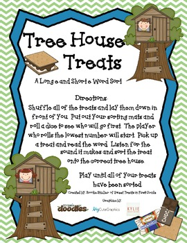 Tree House Treats- A Long e (ee and e_e) and Short e Word Sort Game