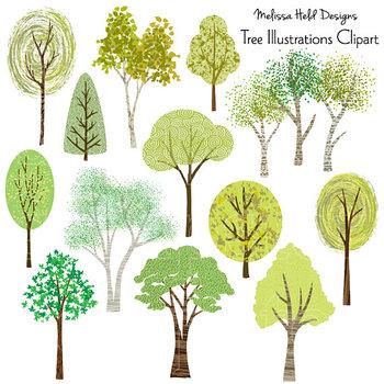 Clipart Tree Illustrations Hand Drawn Clip Art