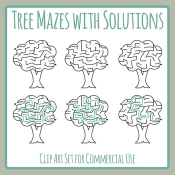 Tree Mazes with Solutions Clip Art Set for Commercial Use