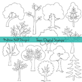 Tree Outlines Digital Stamps Clipart