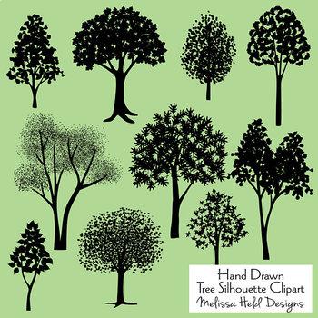 Clipart Tree Silhouettes Hand Drawn Clip Art