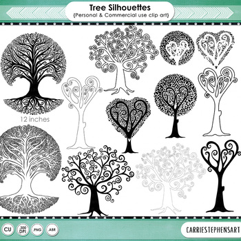 Whimsical Tree Silhouettes, Tree Illustrations Clip Art
