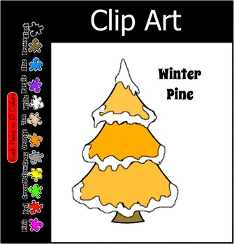 Tree ~ Winter Pine with Snow ~ 12 Colors Free Clip Art