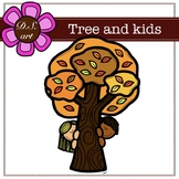 Tree and kids Digital Clipart (color and black&white)