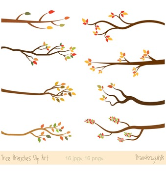 Tree branches clipart, Autumn branch clip art, Fall branches clipart, wood