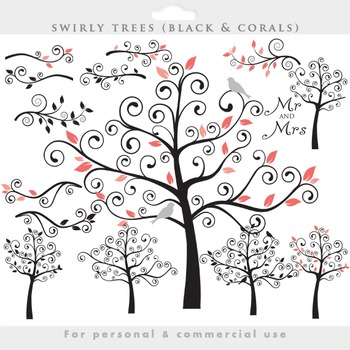 Tree clip art - swirly tree flourish swirls branches cute birds leaves