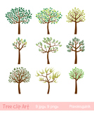 Tree clipart, Whimsical tree clip art, Spring tree, Summer tree clip art, Forest